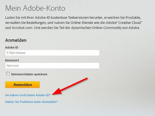 Adobe ID registrieren